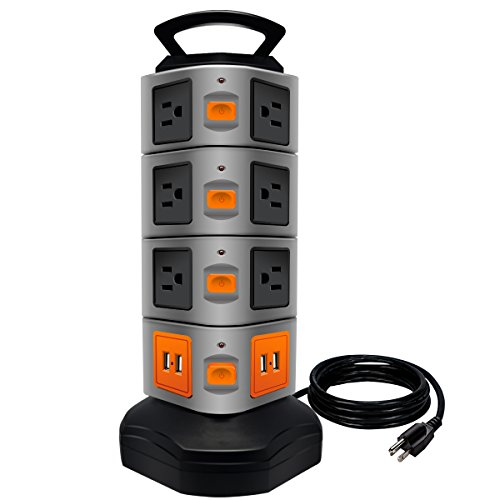 Power Strip Tower, Lovin Product Surge Protector Electric Charging Station, 14 Outlet Plugs with 4 USB Slot 6 feet Cord Wire Extension Universal Charging Station (1-Pack)