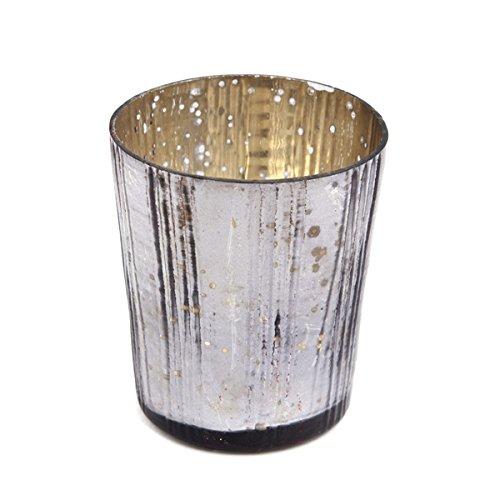 Insideretail-Porta lumini con Supporto Verticale, Effetto Vintage, in Vetro, Colore: Carbone, 7 cm, Confezione da 48