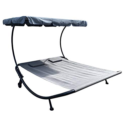 LYDIANZI Outdoor Portable Double Chaise Lounge Hammock Bed With Adjustable Canopy And Headrest Pillow For Sun Room, Garden, Courtyard, Poolside,Beach, Grey