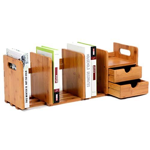Vssictor Teleskop-Bücherregal, skalierbares Bambus-Bücherregal, Bücherregal, Aufbewahrungshalter, Bücherregal mit Schublade für Home Office