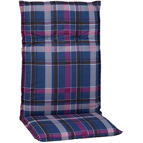 Beo Auflage Sitzkissen für Hochlehner in karo blau violett schwarz M903