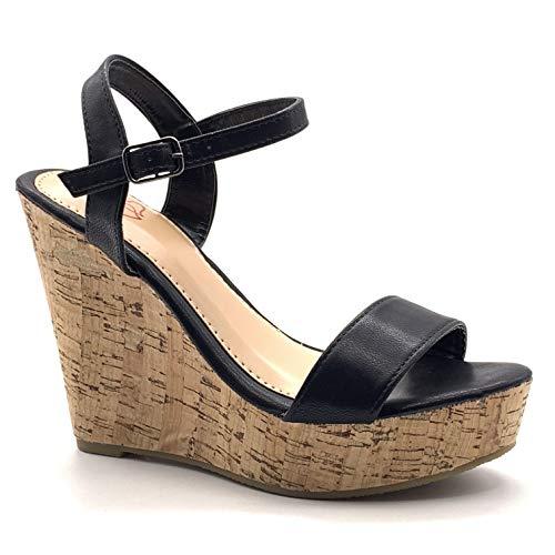 Angkorly - Chaussure Mode Sandale Escarpin Hauts Talons Folk/Ethnique Bohème Femme lanière Simple Basique liège Talon compensé Plateforme 12 CM - Noir - 660-10 T 37