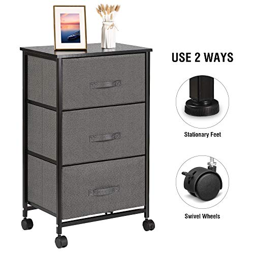 VANSPACE Vertical Dresser Storage Tower 3-Drawer Storage Cabinet Nightstand On-Wheels, Adjustable Feet & Rolling Wheels, Wood Top, Easy Pull Fabric Bins - Organizer Unit for Bedroom, Hallway, Enterway