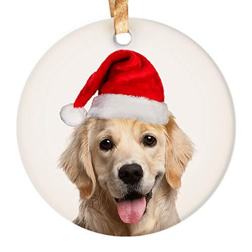 Dadidyc Golden Retriever Dog in Christmas Santa hat Funny Christmas Ornaments 3' Round Ceramic Ornament with Gift Box Xmas Present