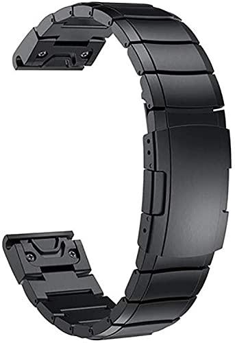 Youdert Uhrenarmband KompatibleQuick Fit-Uhren-Bands für kompatible Garmin Fenix 5 / Fenix 3 HR. Fenix. 5S / 5X. Plus Edelstahl-Uhr-Armband-Armband (Color : Black, Size : 26mm)
