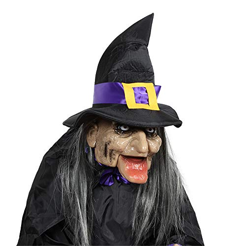 RBH Halloween-Hexendekoration, Lichtsensor-Steuerschalter, Augen leuchten, schrecklicher Ton, Kieferknochen zittert, handgehaltener Bonbonteller, unerwartete Requisiten