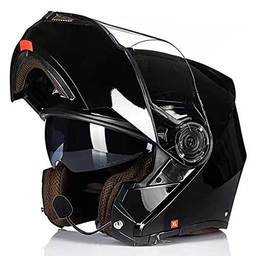 MOMOJA Casco Flip-Up con Bluetooth, casco de moto integrado Bluetooth, casco integral modular homologado ECE con doble espejo antivaho H,XL