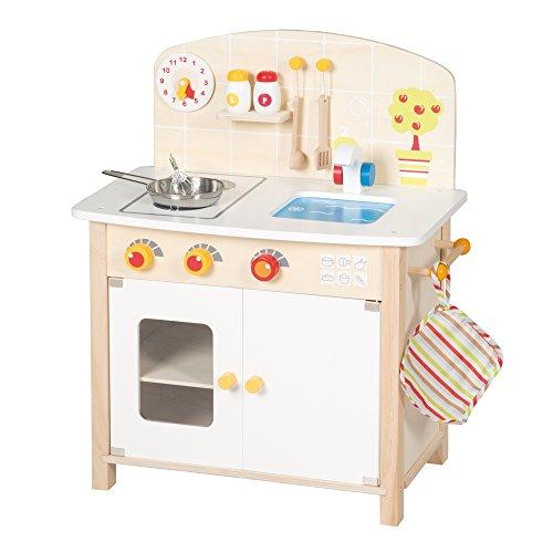 roba Spielküche, Holz Kinderküche weiß/natur, Spielzeug-Küchenzeile mit 2 Kochstellen, Spüle, Wasserhahn & Zubehör
