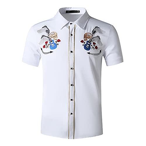 Camisa De Verano Hombre Ajustada Manga Corta Botones Bordados Cuello Kent Camisas Casuales Caballero De Negocios Impresión Creativa Cómoda Camiseta Hombre A-White 1 S