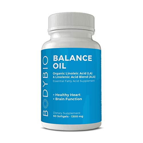 BodyBio Balance Oil - Essential Fatty Acids Omega 3 & 6 - Cold Pressed, Vegan, Organic Safflower and Flax Seed Oil Blend for Brain & Mood Support and Cellular Health, 60 Softgels