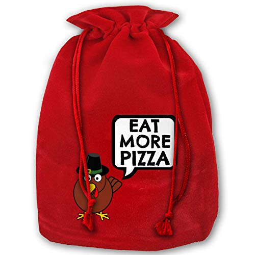 Christmas Gift Bags Eat More Pizza Gold Velvet Party Favors Grocery Wrapping Storage Bags for Kids