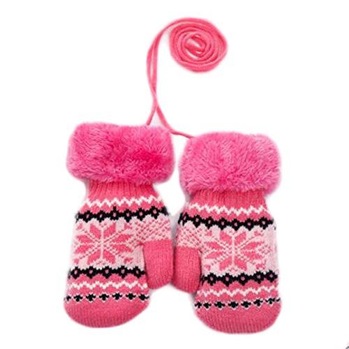 Black Temptation Fleur 3-8 Ans Enfants Gants Warm Knit Neck Hung Mittens (Maple Leaves)
