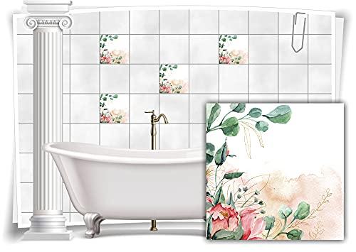 Medianlux M13m165-140942 - Adhesivo decorativo para azulejos de baño (8 unidades, 15 x 15 cm), diseño floral