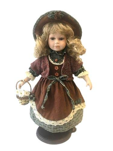 rf collection Porzellan-Puppe, Strohhut & Gießkanne, 42 cm, Holzständer