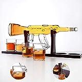 ZXASDC Juego de Botellas de Vino, 1000 ml AK47 Big Pistol Whisky Decanter Set con 4 Bullet Cup Tequila Brandy Glass Set- Base de Madera y Paquete Seguro