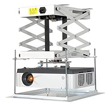 CGOLDENWALL Electric projector Lift 30cm/ 11.8inch Ultra-thin Hidden Ceiling Mount Projector Hanger Remote Control For Cinema Church Hall School Double motors Running Distance  100cm/39.37inches