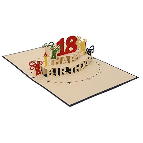 Favour Pop Up Glückwunschkarte zum runden 18. Geburtstag. Ein filigranes Kunstwerk, das sich beim Öffnen als Geburtstagstorte entfaltet. ALTA18B