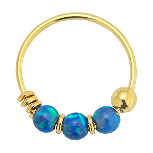 9K Gelb Gold dreifach blauen Opal Perle 22 Gauge Hoop Nasenring Nase Piercing