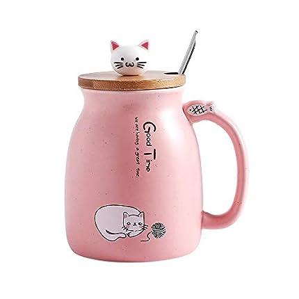 MengCat Taza Gato Linda Taza de café de cerámica con Gatito Encantador Tapa de Madera Cuchara de Acero Inoxidable, Novedad Copa de la mañana Té Leche Navidad Jarra Regalo 380ML (Rosado)