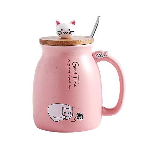 Katzen-Tasse Süße Keramik Kaffeetasse mit Schöne Kitty Holzdeckel Edelstahl Löffel, Neuheit Morgen Cup Tee Milch Weihnachten Becher Geschenk 380ML (Rosa)