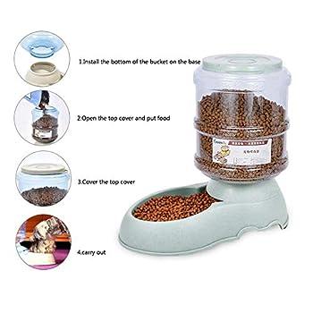 Geggur Distributeur De Nourriture Eau Fontaine Automatique 3.75L, Alimentation pour Pet Chain Chat Croquettes Accesoires Gamelle Animaux Domestiques