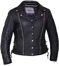 Unik International Ladies Premium Leather Studded Motorcycle Jacket 2XL
