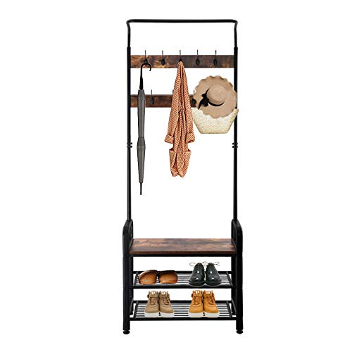 WEI WEI GLOBAL Entryway Coat Rack Hallway Shoe Bench Hall Tree with Storage Shelf 3 in 1 Design with 9 Hooks Industrial Accent Furniture with Metal Frame Easy Assembly-73 H