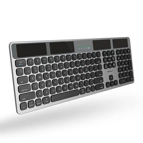 Macally Bluetooth Wireless Solar Keyboard for Mac (Upgraded) - Rechargeable via Any Light Source or Wire - Mac Bluetooth Keyboard with 21 Apple Shortcuts and 110 Keys - Connect 3 Devices - Space Gray