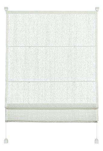 GARDINIA Raffrollo zum Klemmen, Raffgardine, Transparent, Alle Montage-Teile inklusive, EASYFIX Raffrollo mit zwei Bedienschienen, Weiß, 80 x 140 cm (BxH)