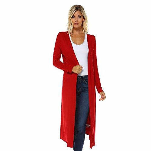 Isaac Liev Extra Long Boho Cardigan Fits Small, Size Up (Large, True Red)