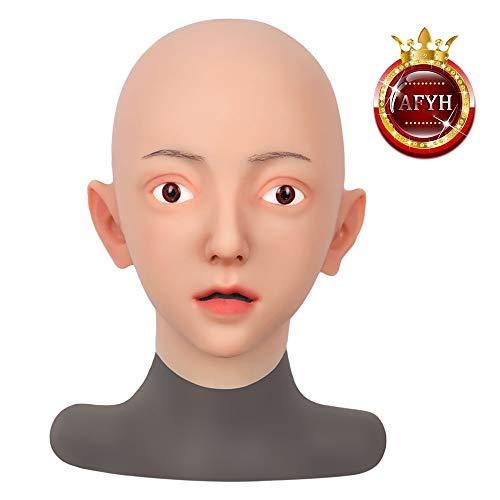 AFYH Silikon Kopfmaske, Realistische Masken Gesichtsverändernde Make-up-Leistung Mann-zu-Frau realistische Gesichtsveränderung Gesicht künstliches Gesicht aus weichem Silikon,Color3