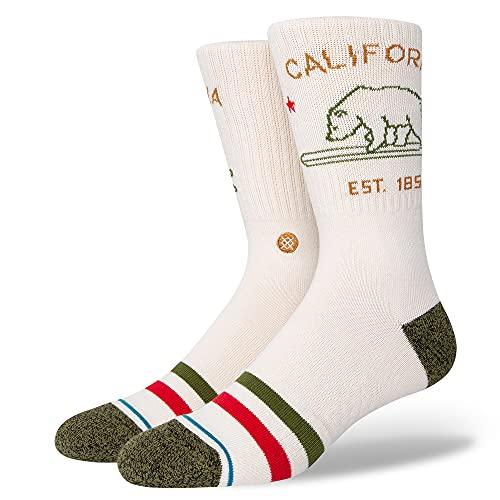 Stance Men's California Republic 2 Crew Socks Off White L