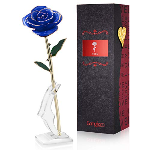 Gomyhom Rose Purple Love Forever Long Stem Gold Foil Trim Rose Flower with Bracket Room Decor for Valentine's Day & Mother's Day & Anniversary (Blue)