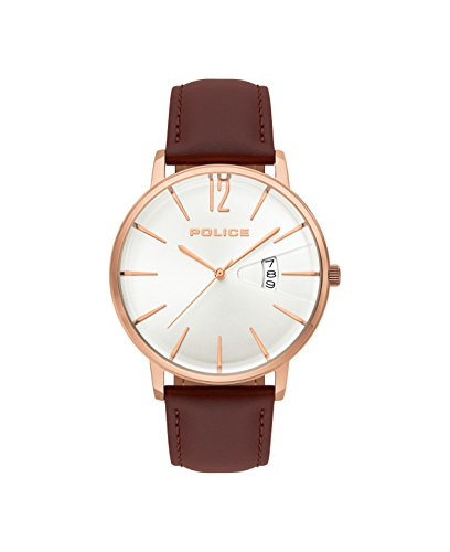 Police Herren Chronograph Quarz Uhr mit Leder Armband PL.15307JSR/01