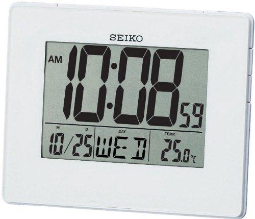 Seiko QHL057W LCD Alarm Calendar Clock, Wh