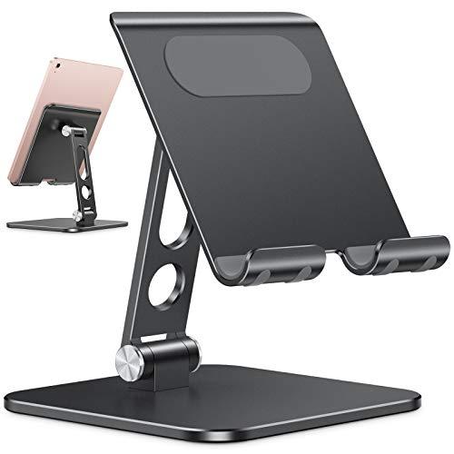Supporto Tablet Pieghevole Aggiornato, OMOTON Porta per iPad con Base più Pesante, Supporto Regolabile Mobile da Tavolo in Alluminio Robusto Compatibile con iPad Pro 12.9 Air Mini Samsung, Nero