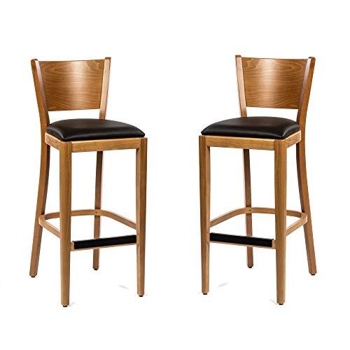 Dublino Holz Barhocker IC917SG/OAK   2er Set   Buche in Eichenoptik mit Kunstleder Sitzfläche   Barhocker in Gastronomie Qualität