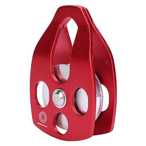 Keenso Polea 30KN, Poleas estables de aleación de Aluminio y magnesio Poleas de cabrestante Manual con polea Grande(Rojo)