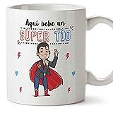 MUGFFINS Tazas Tío - Aquí Bebe un Super Tío - Taza Desayuno Original/Idea Regalo Cumpleaños. Cerámica 350 mL