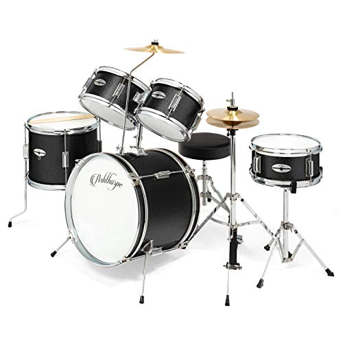 "Ashthorpe 5-Piece Complete Kid's Junior Drum Set with Genuine Brass Cymbals - Children's Advanced Beginner Kit with 16"" Bass, Adjustable Throne, Cymbals, Hi-Hats, Pedals & Drumsticks - Black"