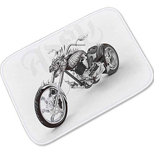 Ilustración de la motocicleta no Slip Felpudo Felpudo Alfombra lavable a máquina Decoración impermeable Absorbe baño / cocina / Zapatos pasillo de la planta de entrada alfombra de la estera del raspad