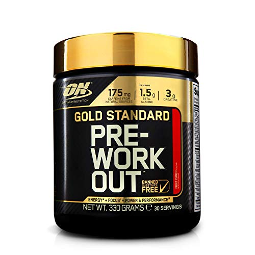 Optimum Nutrition ON Gold Standard Pre Workout, Energy Drink Pulver mit Kreatin Monohydrat, Beta Alanin, Koffein und Vitamin B Komplex, Fruit Punch, 30 Portionen, 330g, Verpackung kann Variieren