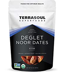 Terrasoul Superfoods Organic Deglet Noor Dates (Pitted), 2 Pounds USDA Certified Organic, Earth Kosher, Non-GMO, Raw, Gluten-Free, Vegan Our Deglet Noor dates are grown in California on organic farms and have had their pits removed Perfect for snacki...