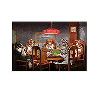 ポーカーをする犬 キャンバスポスター寝室の装飾スポーツ風景オフィスルームの装飾ギフト,キャンバスポスター壁アートの装飾リビングルームの寝室の装飾のための絵画の印刷 20x30inch(50x75cm)