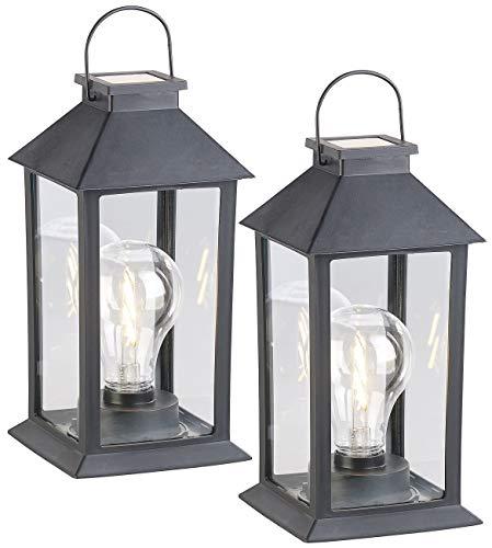 Lunartec Licht: 2er-Set Solar-Laterne mit LED-Glühbirne, Dämmerungs-Sensor, Akku, 5 lm (Solardeko)