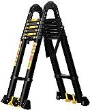 Qivor Escalera Plegable 2-6m Extensión Escalera Alta con Ganchos y Antideslizante Mat Profesional de Aluminio telescópica Escalera de Carga de construcción al Aire Libre 150Kg, 5 m / 16,4 pies