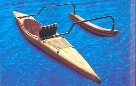 Canoa con brazo de cedro rojo de madera exótica - acero inoxidable conexión - limpia Holzspantenbauweise