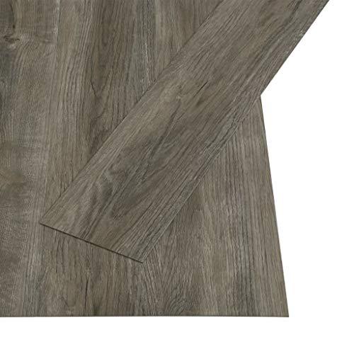 vidaXL Laminat Dielen Fußboden Vinylboden Vinyl Boden Planken Bodenbelag Designboden PVC Selbstklebend 4,46 m² 3mm Grau Braun Rutschfest Wasserfest