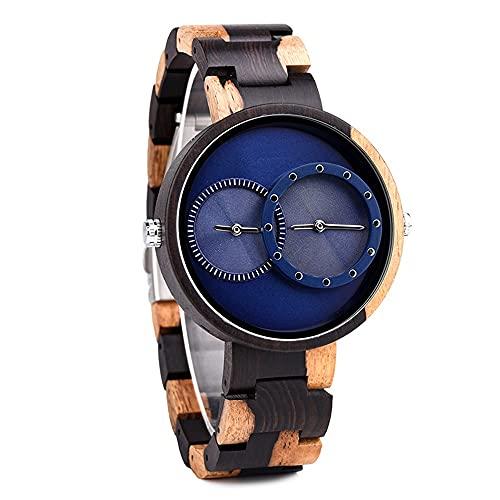 yuyan Zebra Wood Watch Japanese Quartz Dual Movimiento GMT Dual Tiempo Grande DIAL Hecho a Mano Solo Hombre Y Reloj DE Mujeres del Estudiante Cumpleaños
