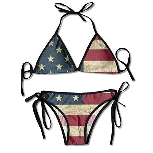 Funny Z Damen Bikini Set mit Bandage Usa Flag Halfter Badeanzug Zweiteiliger Badeanzug